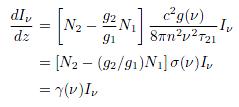 媒質の単位長さ当たりの光強度の増加