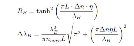 ブラッグ波長とグレーティングのパラメータ